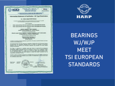 HARP railway bearings are certified according to the European TSI standards